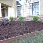 The new drip irrigation for the garden bed is more efficient and uses less water than the original lawn planting.